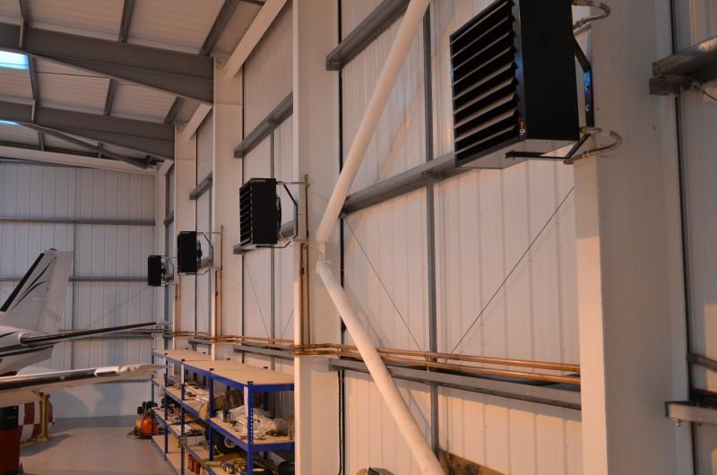 Aerotemprar, fläktluftvärmare i olika byggnader